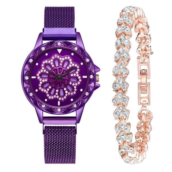 2 STÜCKE Set Uhren Frauen Mode Luxus Armbanduhr Hohe Qualität 360 Rotierenden Heißen Magnetband Vermögen Damen Quarzuhr