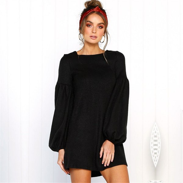vente officielle prix plancher vente énorme Sweater Dress Women Winter Robe Pull Tunic Warm Dresses Long Sleeve Loose T  Shirt Dress Casual Fall O Neck Knitted Party Dresses Sleeves Ladies Dress  ...