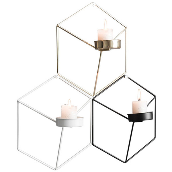 Forma de hexágono Metal Candle Holder 3D Geometría Candelabro Para el Hogar Salón Cafetería romántica decoración de la pared Suministros VVA391