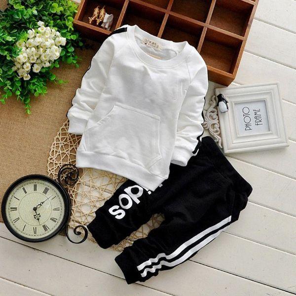 Baby Boy одежда для девочек комплект одежды мода малышей дети устанавливает одежда дети цветок линии печати с длинным рукавом полосатый костюм