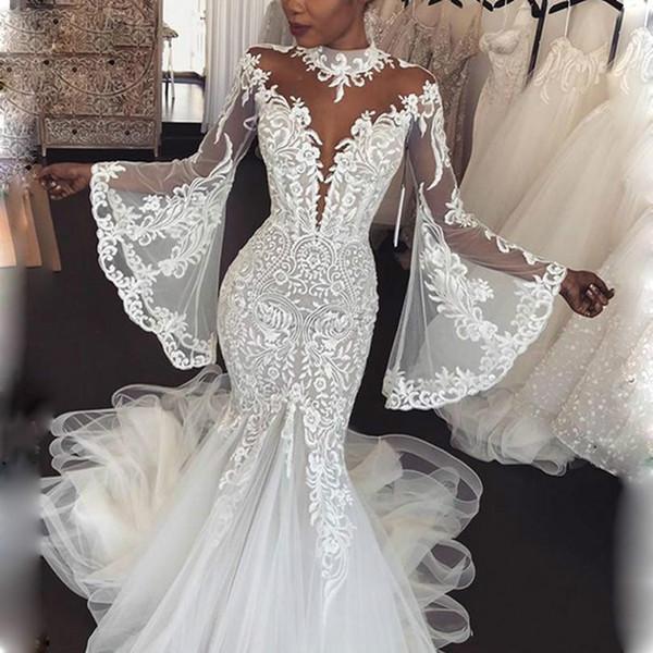 2019 Dubai arabo alta del collo della sirena Abiti da sposa con alto collo Appliques pizzo maniche puro collo abito da sposa vestido de Noiva