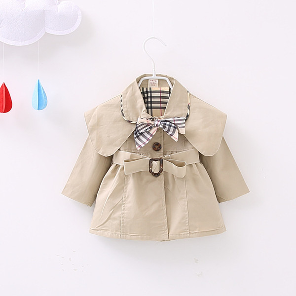 top popular 2019 Fashion Brand Plaid Tops Kids Clothing Baby Girls Outdoor Sports Outwear Newborn Jacket Tench Coat Spring And Autumn Infant Clothes 2019