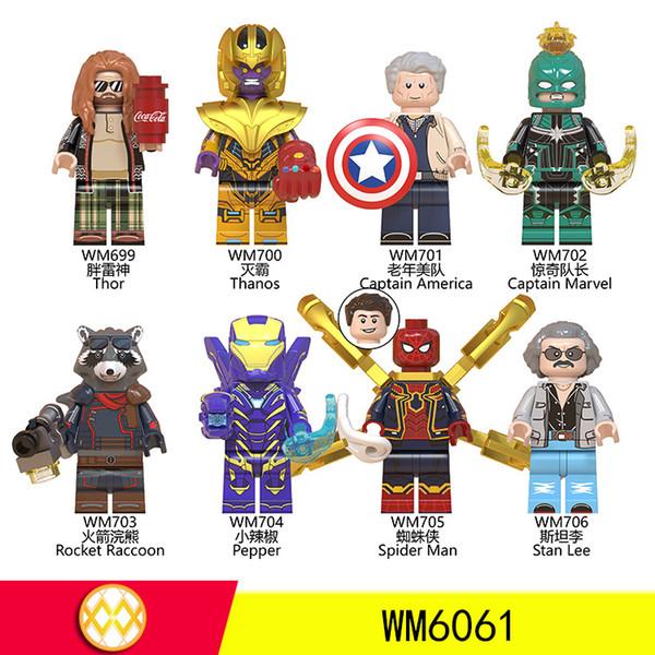 Мстители 4 Строительные блоки Локи Железный человек Тони Старк Hulk Танос Fat Thor Mini Minifig Игрушка 5см Действия Рисунок Blocks дети игрушки