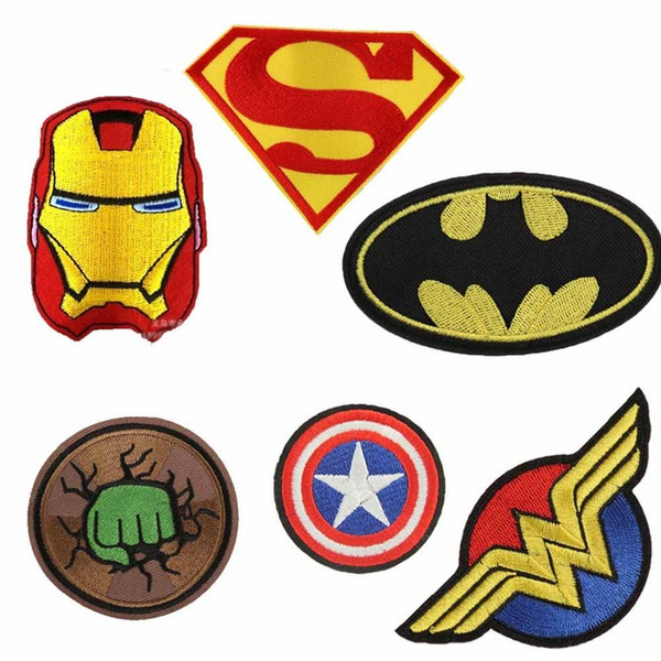 Cartoon Kids Batman Hulk Superman Superhero Captain Iron On Patch Clothes Patch For Clothing Boys Embroidered Patch Clothes 30PCS/