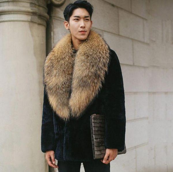2019 Autumn Faux Mink Leather Jacket Mens Winter Thicken Warm Fur Leather Coat Men Slim Jackets Jaqueta De Couro Big Fur Collar Black From Pamele,