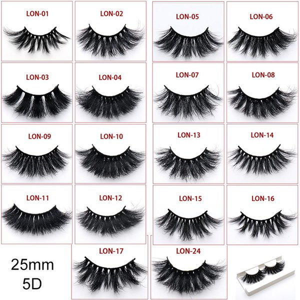 2019 new in stock 5D mink false eyelashes 25MM long cross-eyelashes thick hot sales mink lashes 35styles selling