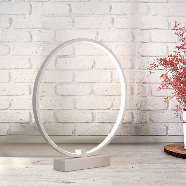Nordic Simple Creative Livingroom LED Table Light Study Bedside Office Circular Ring Dimmable Decoration Lamp Free Shipping