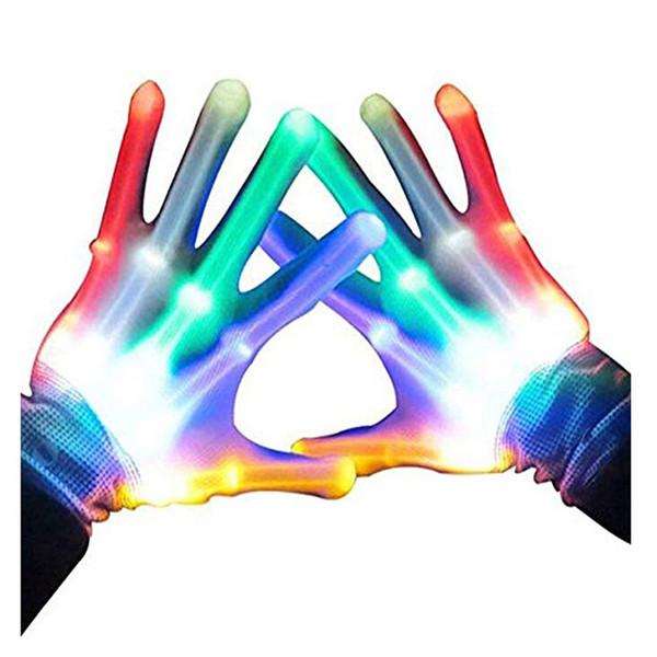 1 Pairs Magic LED Light Skeleton Glove Colorful Rainbow Flash Fingertip LED Gloves Unisex Light Up Glow Stick Gloves Party #4
