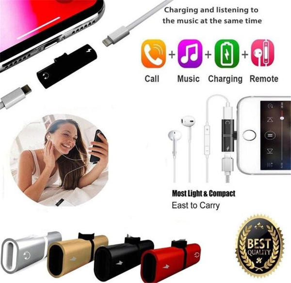 Für i 7 8 Plus 2 in 1 Audio-Ladeadapter iOS 12 3,5-mm-Kopfhöreranschluss AUX-Ladegerät-Anschlusskonverter