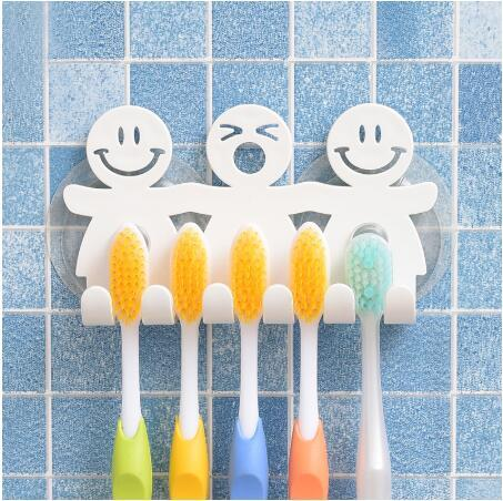 best selling 2020 new Bathroom Suction 5 Position Toothbrush Holder Rack Wall Mount Funny Smiling Face Toothbrush Stand Organizer