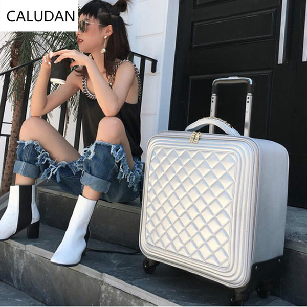 "CALUDAN Leather small cabin luggage hand luggage bag 20"" kinder trolley travel suitcase for women"