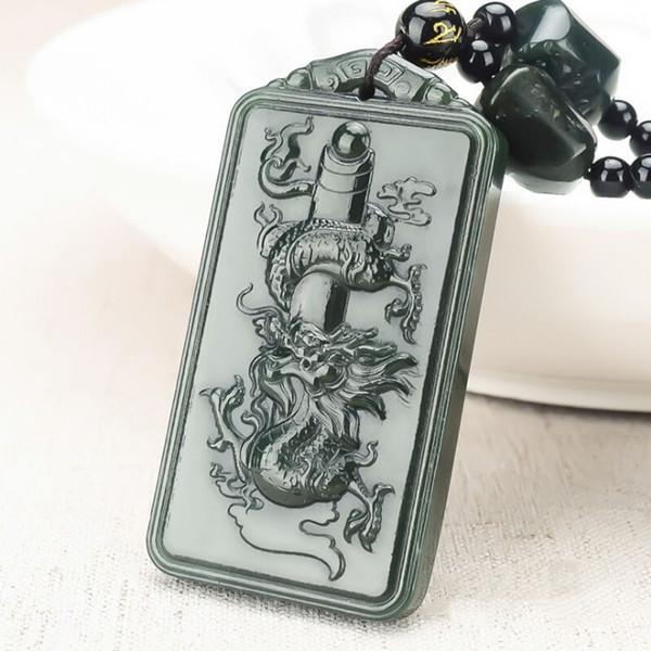 Jade Kolye Doğal Hetian Qingyulong marka Kolye Takı İnsanın Güzel Takı Qingyulong marka + 18 Arhats kolye