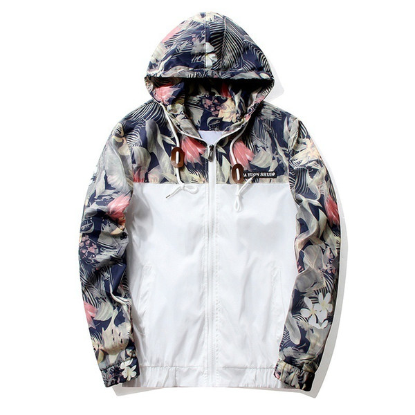 Floral Jacket 2019 Autumn Mens Hooded Jackets Slim Fit Long Sleeve Homme Trendy Windbreaker Coat Brand Clothing Drop Shipping C19041701