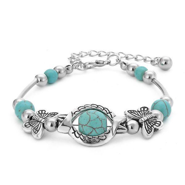 Старинные модные бирюзовые бусы Браслеты браслет из серебра с бабочкой ручной работы браслет из бисера женский браслет чешские украшения