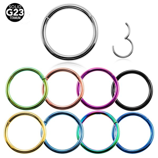 G23 Titanium Hinged Segment Nose Ring 16g&14g Nipple Clicker Ear Cartilage Tragus Helix Lip Piercing Unisex Fashion Jewelry-in Body Jewelry