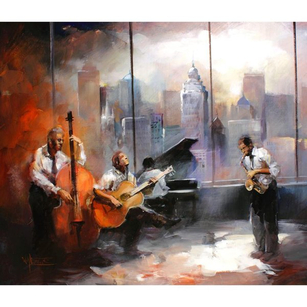 jazz musicroom view Oil paintings of Willem Haenraets hand painted modern art landscapes image High quality