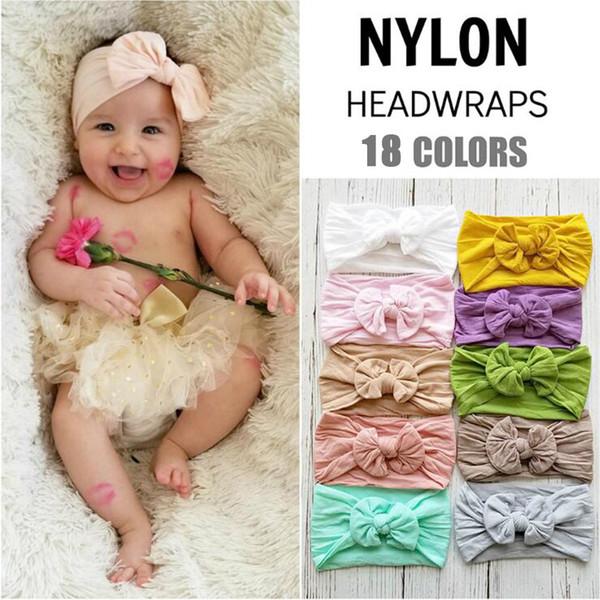 2019 New Fashion 18 Colors Big Bowknot Headband Baby Headbands Bow Hair Band Children Boy Girl Turban Head Wrap Hair