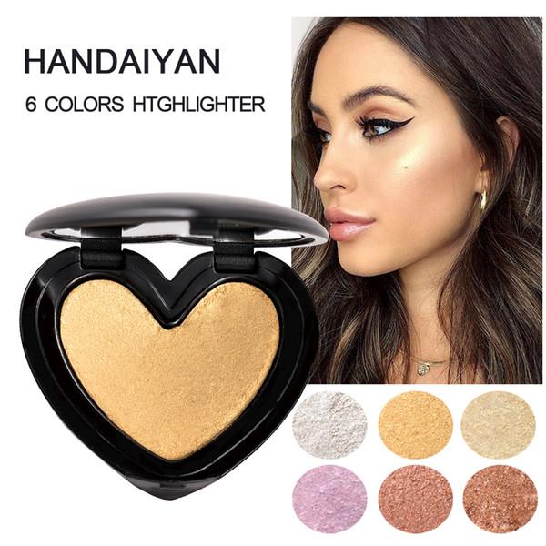 HANDAIYAN Gold Highlighter Palette Cosmetic Iluminador Face Contour Glow  Makeup Bronze Powder Roze Shimmer High Lighter Heart Q179 Face Highlighter