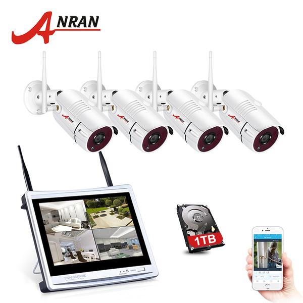 ANRAN 12 Polegada Tela LCD 1080 P 4CH WI-FI NVR Kit HD 2MP Ao Ar Livre Wi-fi IP Sistema de Câmera de Segurança Sem Fio À Prova D 'Água Gravador De Vídeo