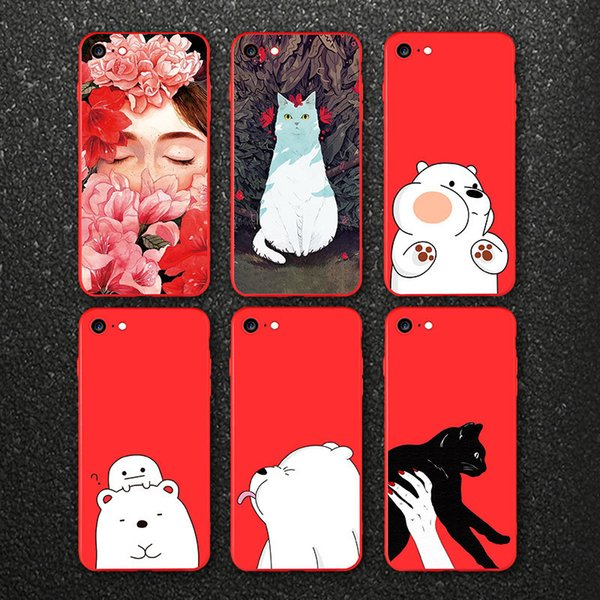 Ultra Thin Red Case For iphone 7 7plus Cute Bear Flower Fairy Cat Phone Cases Back Full Cover for iphone 8 8plus Shell Bag