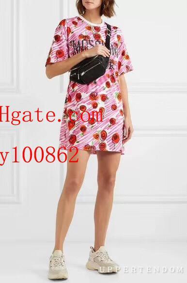 2019 mode femmes marque t shirt rose jardin imprimer manches courtes T-shirt casual Tee shirts femme Haute qualité été femmes vêtements BC-9