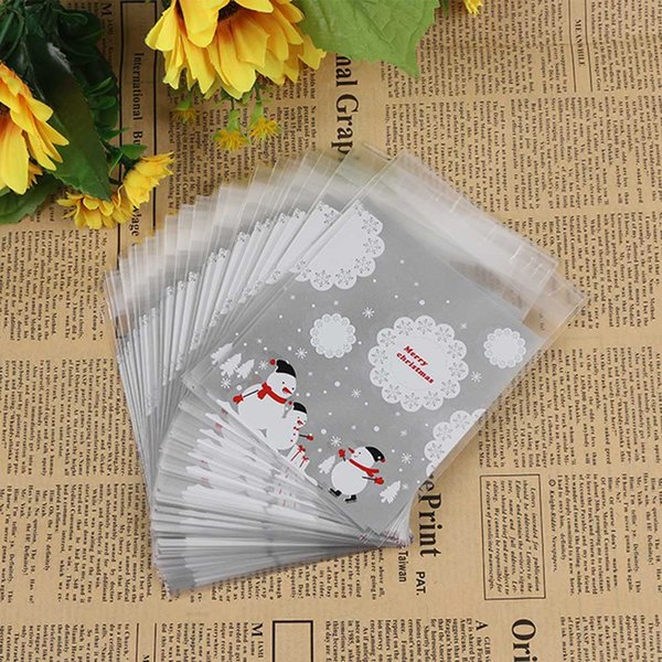 100pcs/pack Plastic Xmas Candy Bags Christmas Decor Snowman Pattern Self-adhesive Cookie Packaging Bags Party Supplies