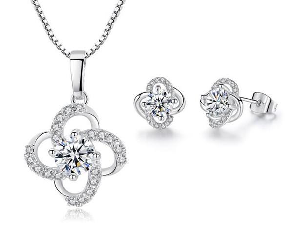 Neu Halskette Modeschmuck Glücksklee Anhänger Blau Kristall Strass Geschenk
