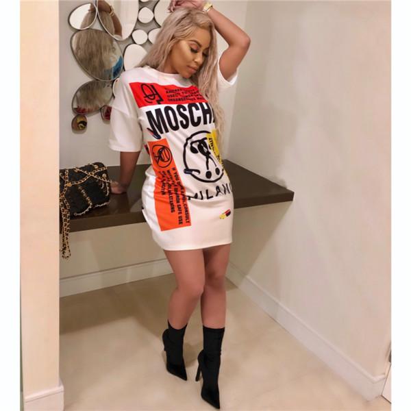 Las mujeres retro del verano pintada camiseta de la impresión del vestido del diseñador O de manga corta cuello recto flojo camiseta de largo vestidos de Hip Hop mini falda S-2XLA52207
