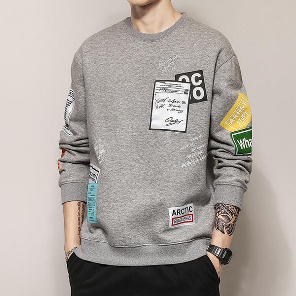 Sonbahar Tasarımcı Erkek Mektup Baskı Kazak ile Moda Hoodies Moda Bahar Erkekler için Hip-Hop Gevşek Kazak Tişörtü Giyim M-3XL Toptan