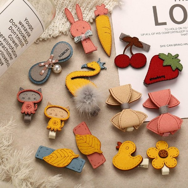 1Pair Cute Cartoon Sweetness Hairpin Set Little Girls Hair Pin Animal Flower Kids Headdress Miniature Jewelry Accessory 7 Styles Options