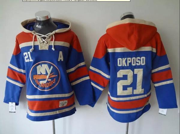 Üst kalite ! New York Adalılar Eski Zaman Hokey Formaları # 21 Kyle Okposo 55 Johnny Boychuk Mavi Siyah Hoodie Kazak Spor Tişörtü W