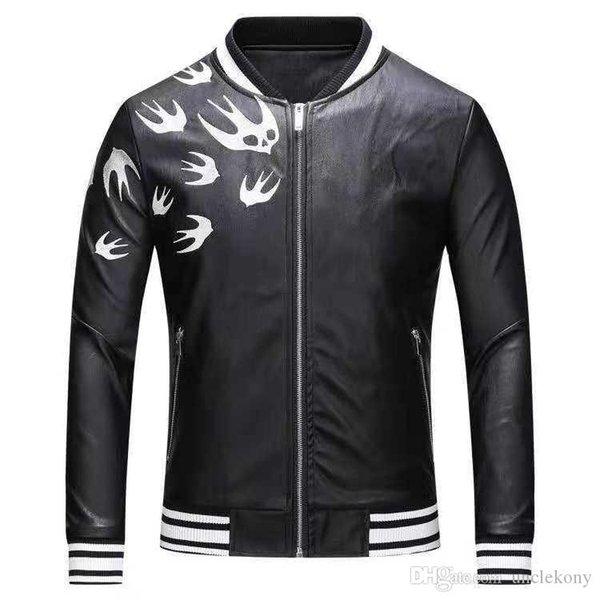 Top Quality 18ss Men's Outerwear Fashion Designer Winter Faux Leather Coat Trench dress shirt Men Jacket Fashion Men's Outerwear