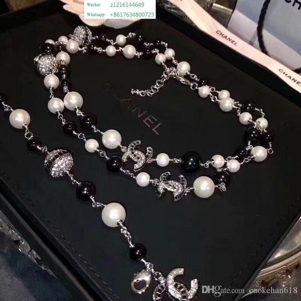 O melhor Top Designer De Luxo Diamante Longo Colar High-end Colar De Pérolas Mulheres S Importado Colar De Cristal 18k Ouro Broche de Jóias
