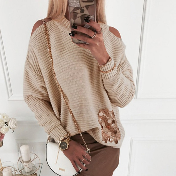 Autumn Knitted Sweater Off the Shoulder Pullovers Sweater for Women Long Sleeve Female Sequined Decoration Pullover