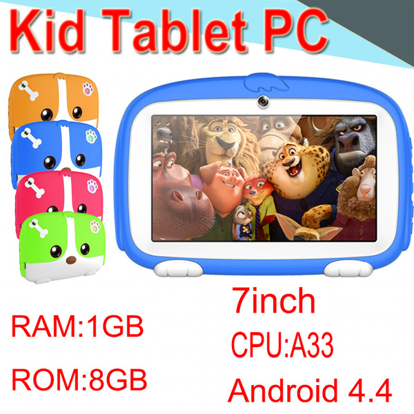 2018 Kids Brand TabletPC 7inch Quad Core Children Tablet Android 4.4 Allwinner A33 Player 1 8GB WIFI Speaker Protective Cover XPB-3