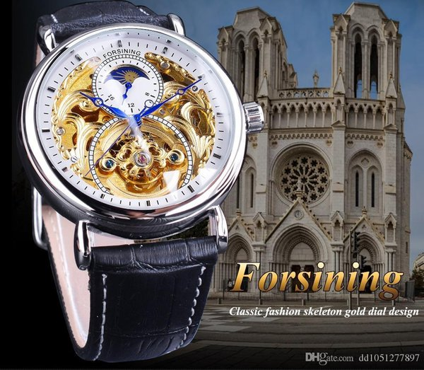 Оптовая 2019 Новый Бренд Полые роскошные мужские часы фазы Луны резной моды дикий с