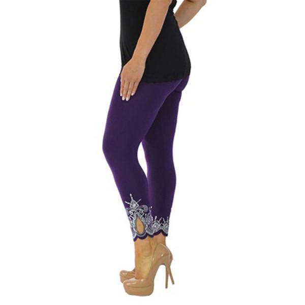 Çiçek Baskı Kadın Tayt Skinny Ayak Bileği uzunlukta Kalem Pantolon Sıkı S-
