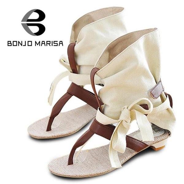 Оптово-Большой размер 34-43 Женская мода Gladiator T ремни Сандалии на плоской подошве Летняя обувь 2015 Новое повседневное платье Шикарные сандалии SA125