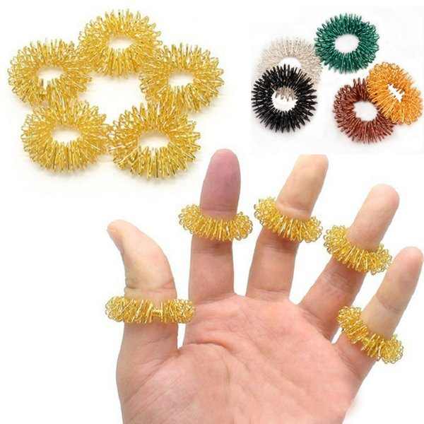 Sensory Finger Massage Ring Spring Ring Health Care Body Massager Relax Hand Massage Finger Lose Weight Party Gifts Opp bag Pack HH7-2068