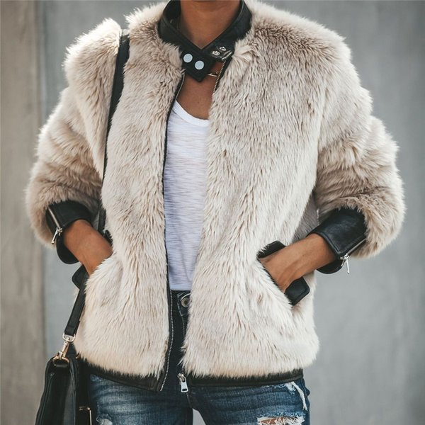 new women winter keep warm Faux Fur jackets coat fashion femme long sleee fur zipper up short jacket outwear coat spring cloth