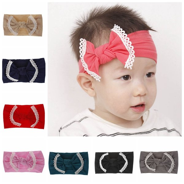 INS Baby Headbands Big Bow Lace Head Wrap Solid Color Stretch Turban Knot Headwears Fashion Baby Hair Accessories 21 Colors YW3672