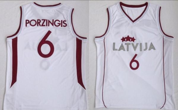 NCAA College Lettland Basketball 6 Kristaps Porzingis Jersey Männer Weiß Team Farbe Für Sport Fans Universität Atmungsaktiv