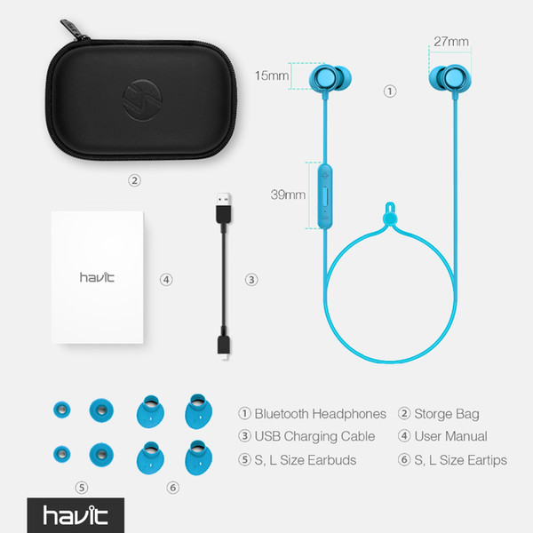 top popular HAVIT Bluetooth Headphone Sport V4.2 IPX5 Sweatproof Magnetic Earplugs Wireless Earphone Waterproof Stereo With Microphone I39 2021