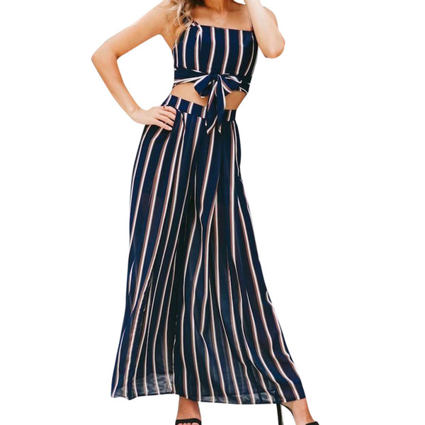 Women Outfits Summer Stripe Sleeveless Vest Shirt Tops Blouse Pants Set For Ladies Beach Party Sexy conjuntos de mujer 2019