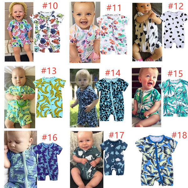 Free DHL Newborn Baby Rompers 40+ Designs Boy Girls Cactus Big Rose Tiger Pineapple Infant Baby Girls Boys Summer Clothes Jumpsuit Playsuits