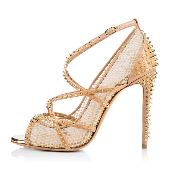 2019 Nova Moda super saltos altos Sexy arrastão preto salto alto sandálias rebites senhoras boca de peixe nu único sapatos Personalizado mulheres sapatos