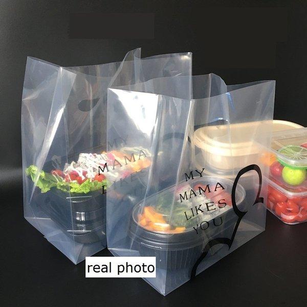 Bolsa de plástico de calidad 100pcs Bolsas de dulces de galletas Empaquetado para llevar Bolsas de plástico Caja de almuerzo Paquete al por mayor