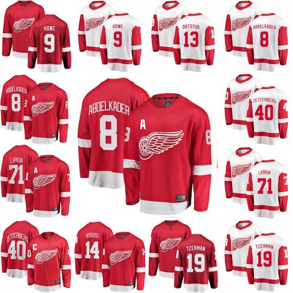 Detroit Red Wings Хоккей трикотажных изделий 71 Дилан Ларкин Джерси 40 Зеттерберг 8 Абделькадер 14 Густав Найквиста 13 Павел Дацюк прошитой