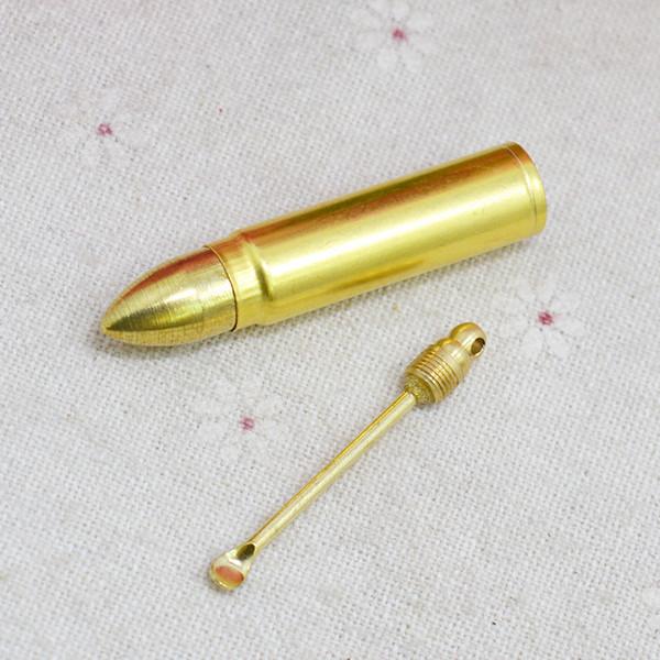 Nuevo Gold Snuff Bottle Box Bullet Misiles Forma Almacén Almacén Cuchara Aleación de metal Accesorios para pipas para fumar Portátil Herb Wax Multiple Uses