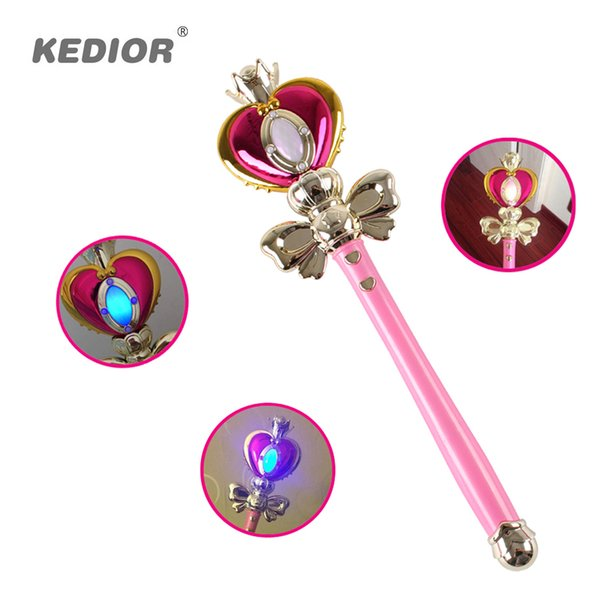 2017 Nuova Ragazza Giocattoli Anime Cosplay Sailor Moon Bacchetta Henshin Asta Glow Stick Spirale Cuore Moon Rod Musical Magic Wand